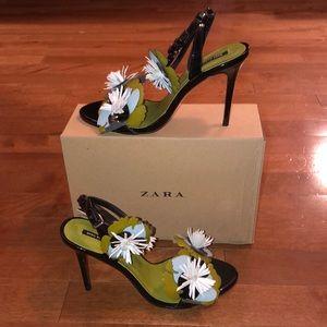 Zara Floral Heel Sandals